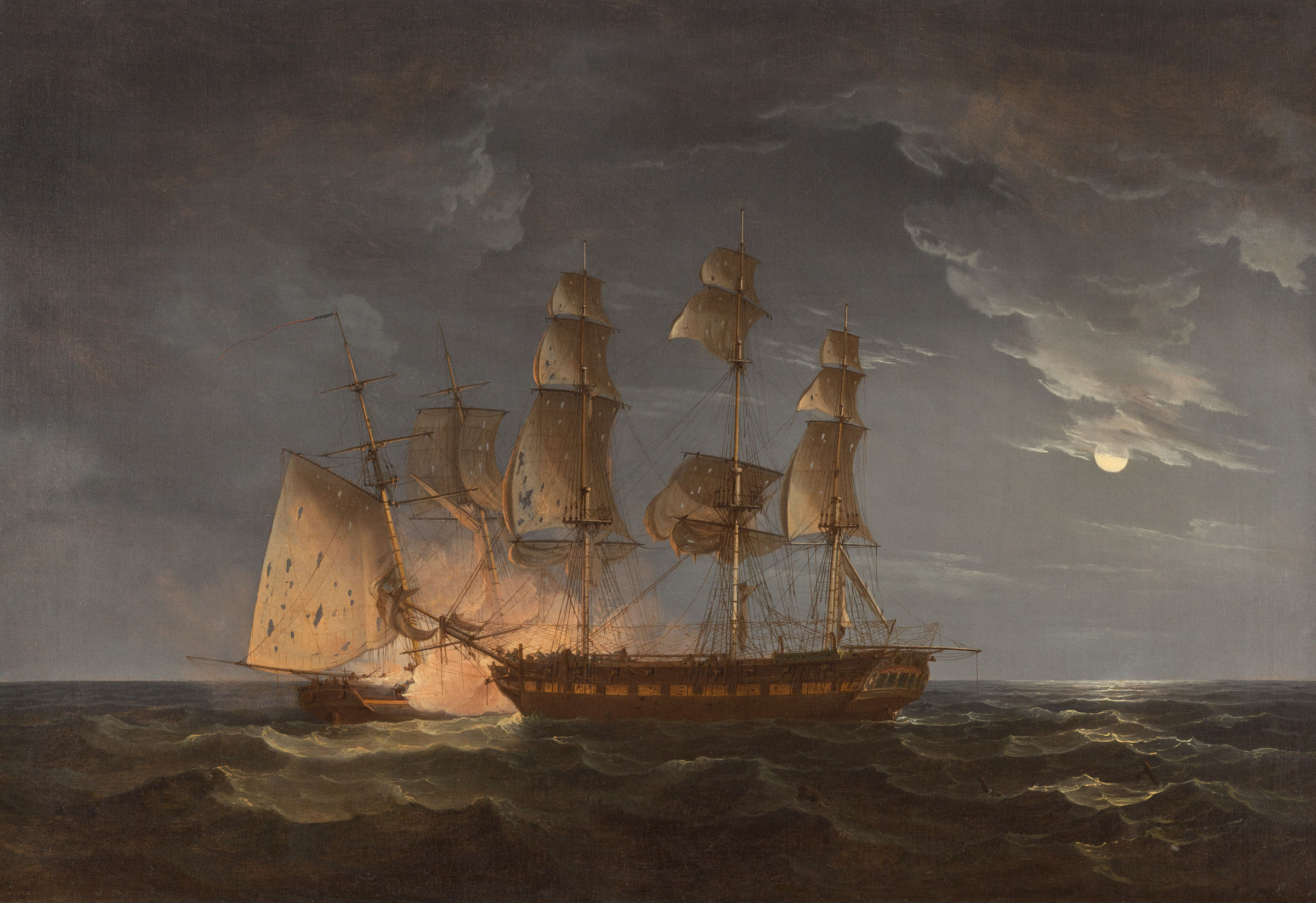 Thomas Whitcombe (British, ca. 1752/63-ca. 1824). 12 at Midnight; The Hibernia Attempting to Run the Comet Down, 1814. Oil on canvas. 31 1/2 x 21 1/2 in. (80 x 54.6 cm). Mr. and Mrs. Drew Peslar