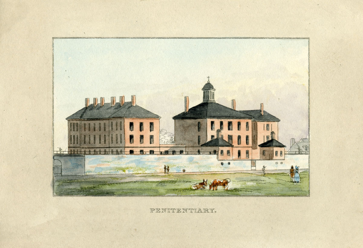 Maryland Penitentiary from J.H.B. Latrobe's Picture of Baltimore (1832). Johns Hopkins University Sheridan Libraries, F 189.B1 P53 1842 QUARTO.