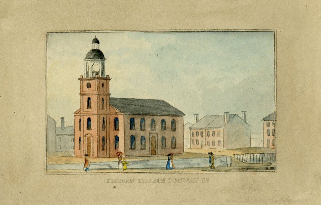 German Church from J.H.B. Latrobe's Picture of Baltimore (1832). Johns Hopkins University Sheridan Libraries, F 189.B1 P53 1842 QUARTO.