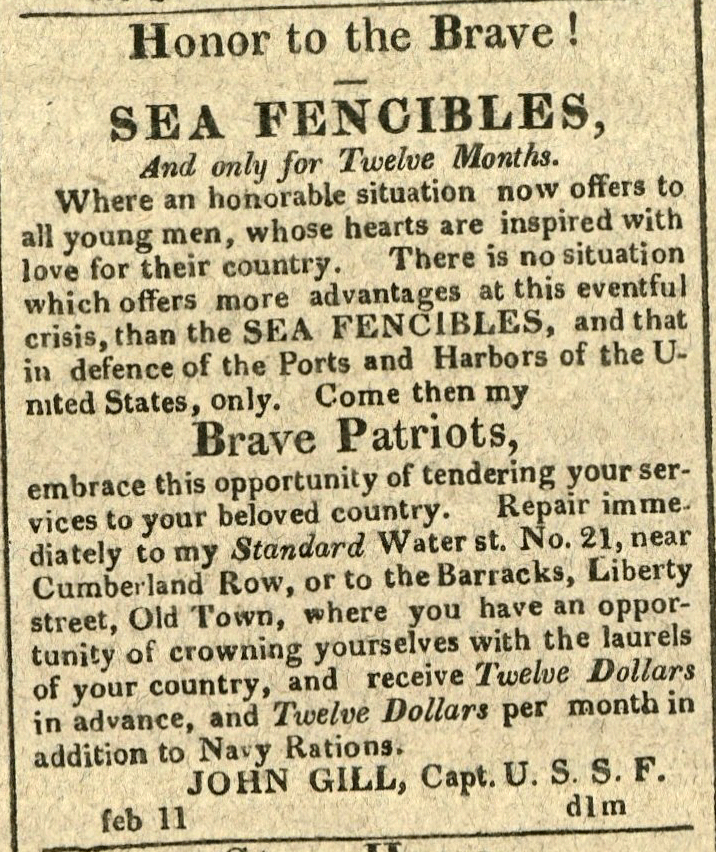 Advertisement: Honor to the Brave! Sea Fencibles And only for Twelve Months