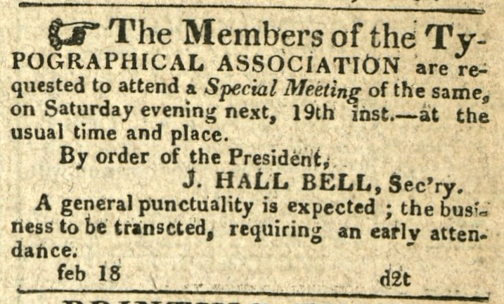 Advertisement: The Members of the Typographical Association as request to attend