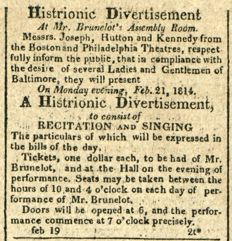 Advertisement: Histrionic Divertisement At Mr. Brunelot's Assembly Room