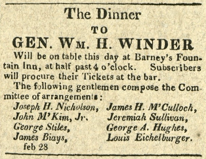 Advertisement: The Dinner to Gen. Wm. H. Winder