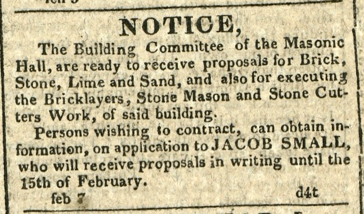 Advertisement: The Building Committee of the Masonic Hall, are ready to receive proposals