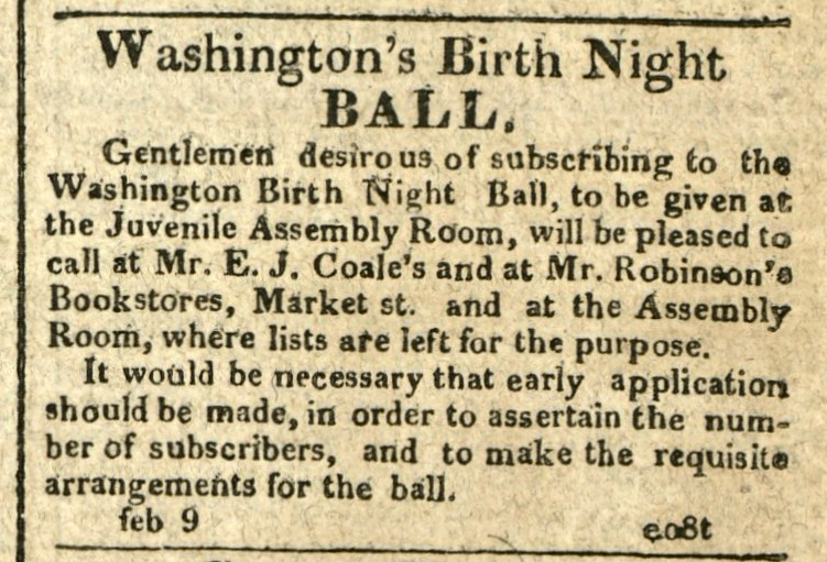 Advertisement: Washington's Birth Night Ball