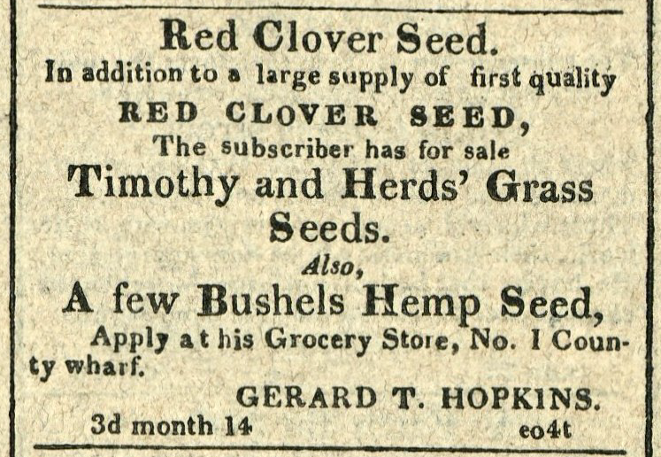 Advertisement: Red Clover Seed. Apply at his Grocery Store… Gerard T. Hopkins