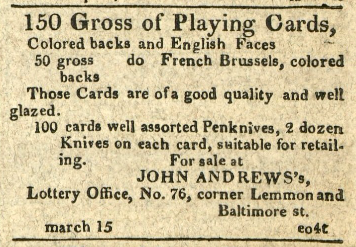 Advertisement: 150 Gross of Playing Cards, Colored back and English Faces