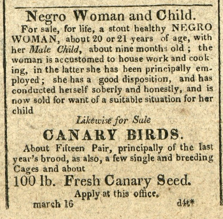 Advertisement: Negro Woman and Child. Likewise for Sale Canary Birds.