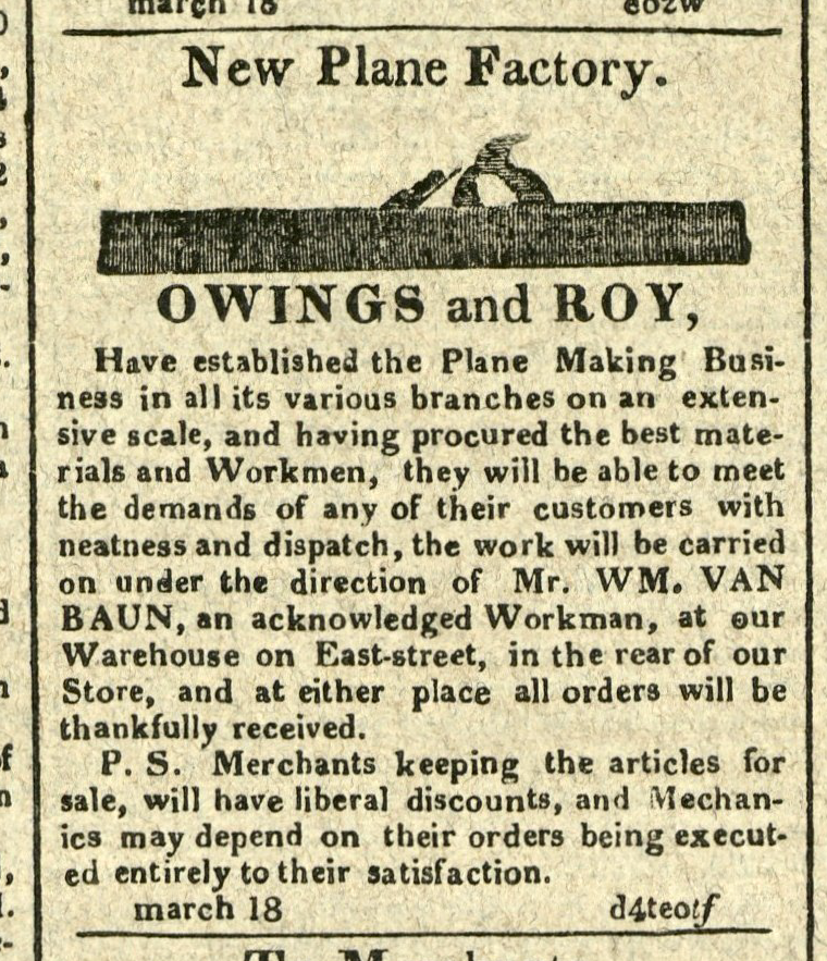 Advertisement: New Plane Factory. Owings and Roy, have established the Plane Making Business