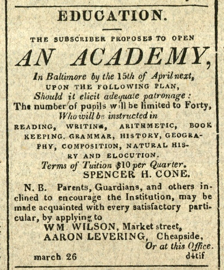 Advertisement: EDUCATION. The Subscriber Proposes to Open An Academy