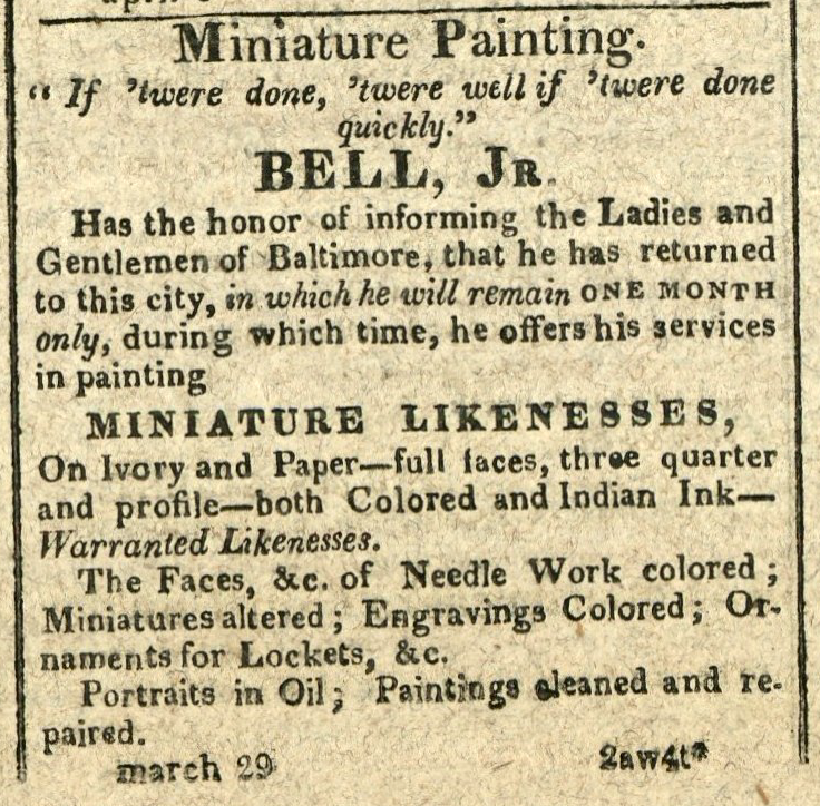 "Advertisement: Miniature Painting. ""If 'twere done, 'twere well if 'twere done quickly."""