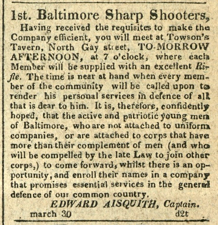 Advertisement: 1st Baltimore Sharp Shooters