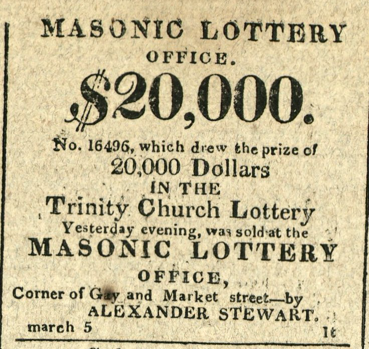 Advertisement: Masonic Lottery. $20,000