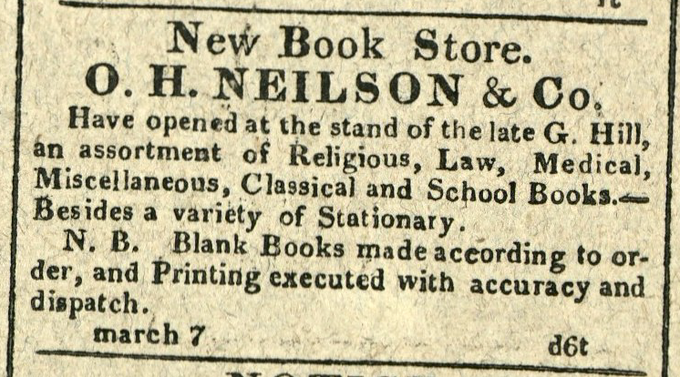 Advertisement: New Book Store. O.H. Neilson & Co.