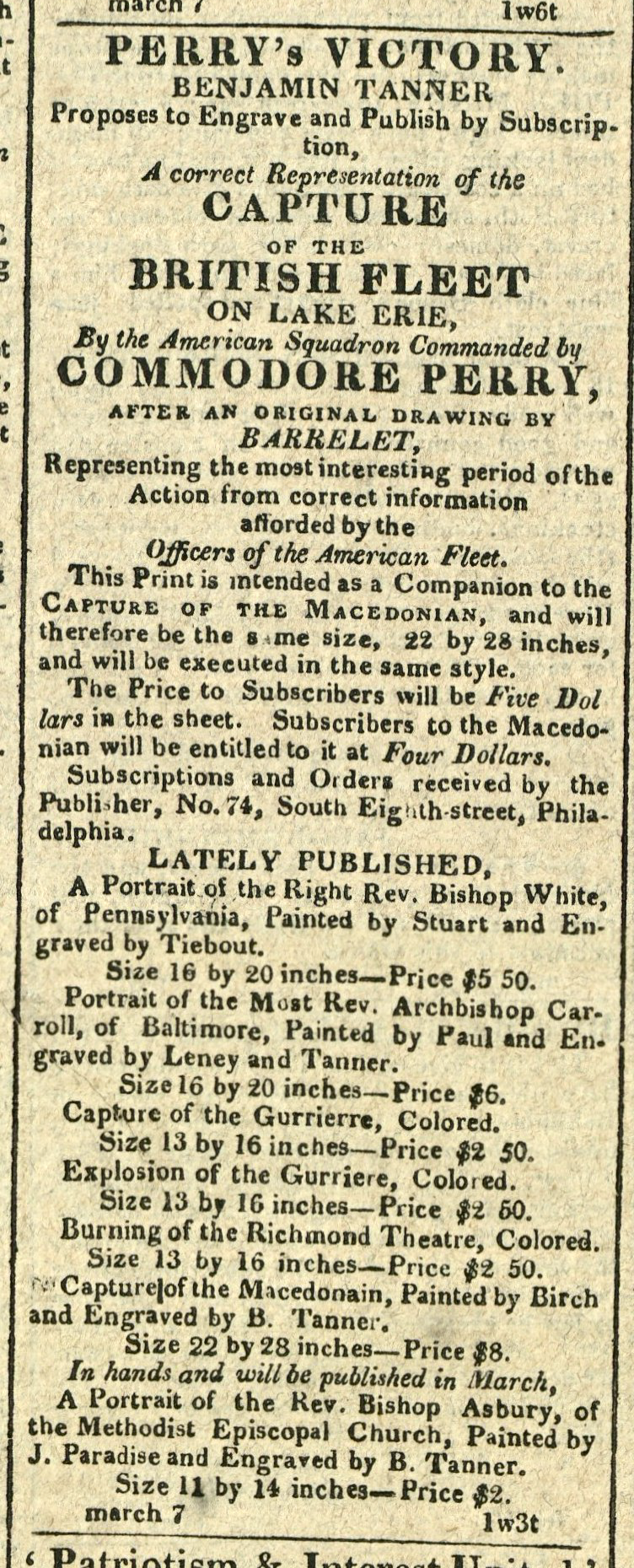 Advertisement: Perry's Victory. Benjamin Tanner Proposed to Engave and Publish by Subscription
