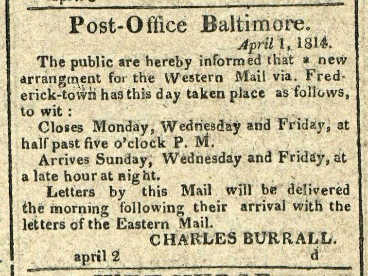 Advertisement: Post-Office Baltimore.