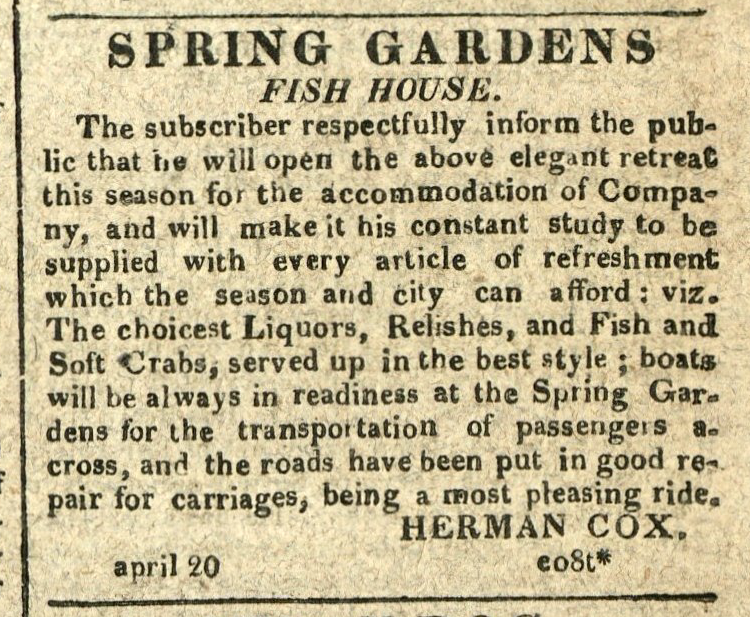 Advertisement: Spring Garden's Fish House