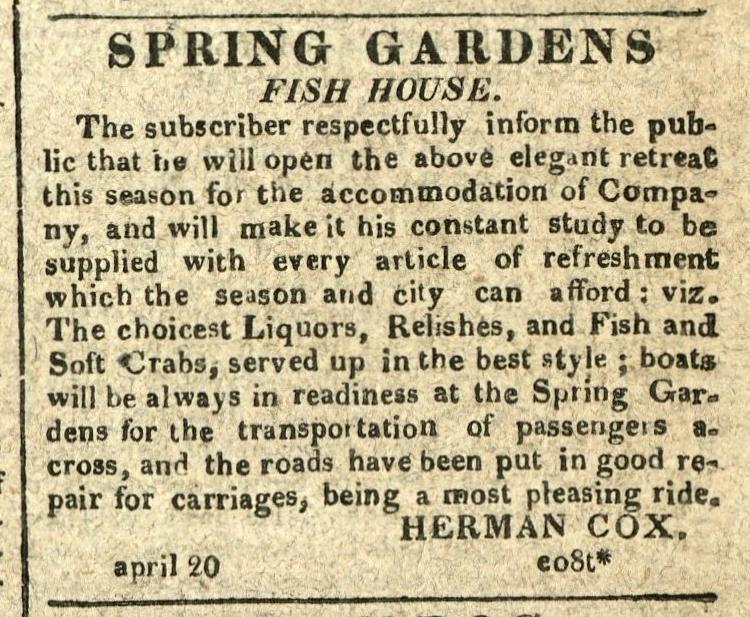 Advertisement: Spring Garden's Fish House
