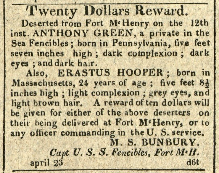 Advertisement: Twenty Dollars Reward. Deserted from Fort McHenry