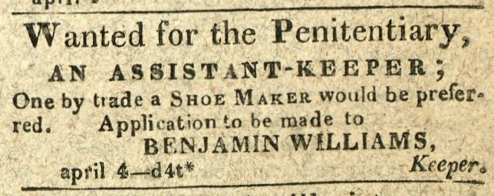 Advertisement: Wanted for the Penitentiary, An Assistant-Keeper