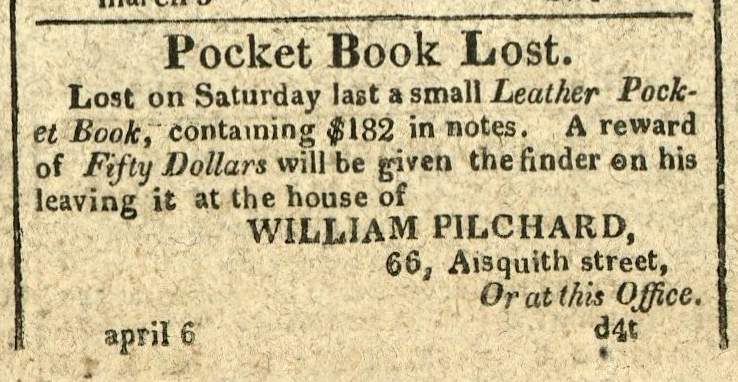 Advertisement: Pocket Book Lost… containing $182 in notes.