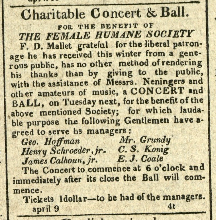 Advertisement: Charitable Concert & Ball for the Benefit of the Female Humane Society