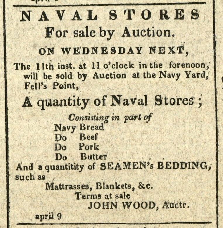 Advertisement: Naval Stores For sale by Auction on Wednesday Next