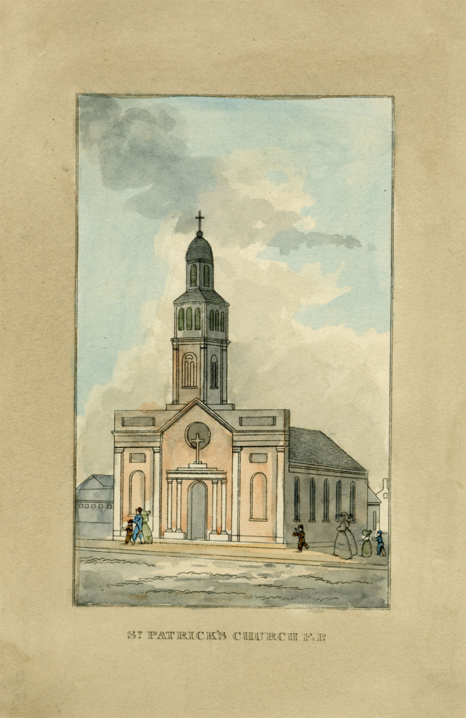 St. Patrick's Church from J.H.B. Latrobe's Picture of Baltimore (1832). Johns Hopkins University Sheridan Libraries, F 189.B1 P53 1842 QUARTO.