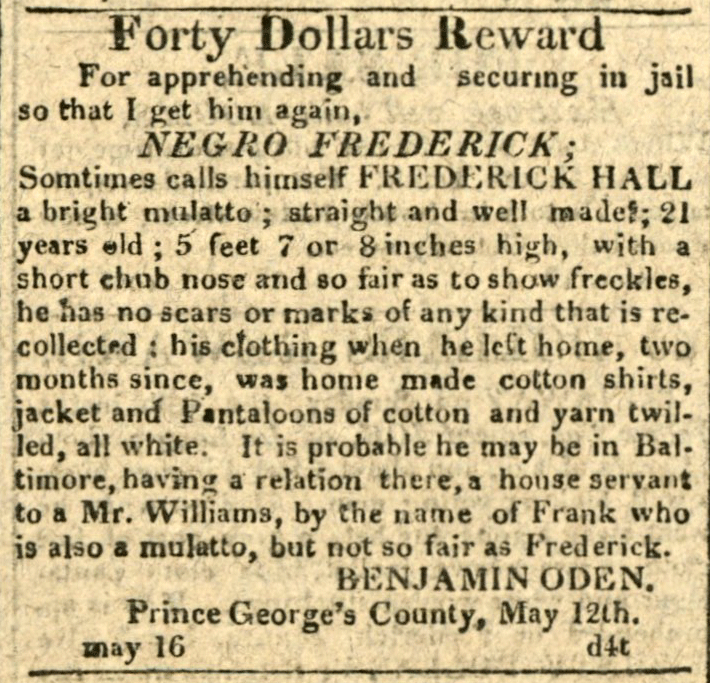 American Commercial and Daily Advertiser, May 16, 1814. Maryland State Archives SC3392