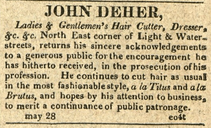 American Commercial and Daily Advertiser, May 28, 1814. Maryland State Archives SC3392