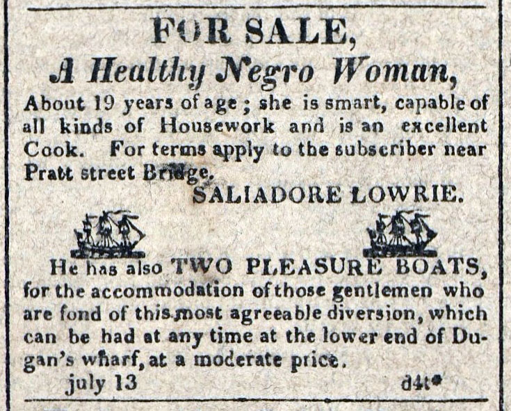 American Commercial and Daily Advertiser, July 13, 1814. Maryland State Archives SC3392