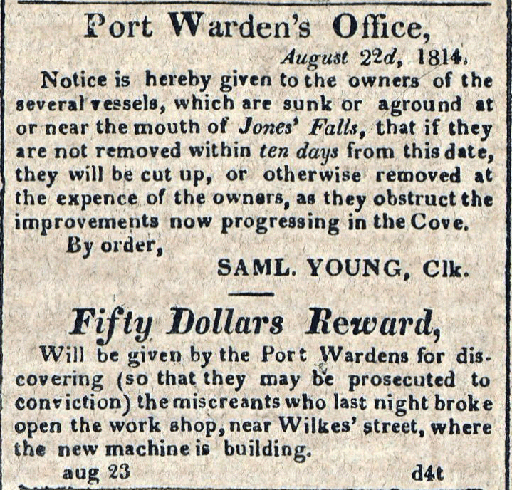 American Commercial and Daily Advertiser, August 23, 1814. Maryland State Archives, SC3392.